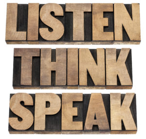 listen, think, speak - communication concept - isolated text in vintage letterpress wood type printing blocks